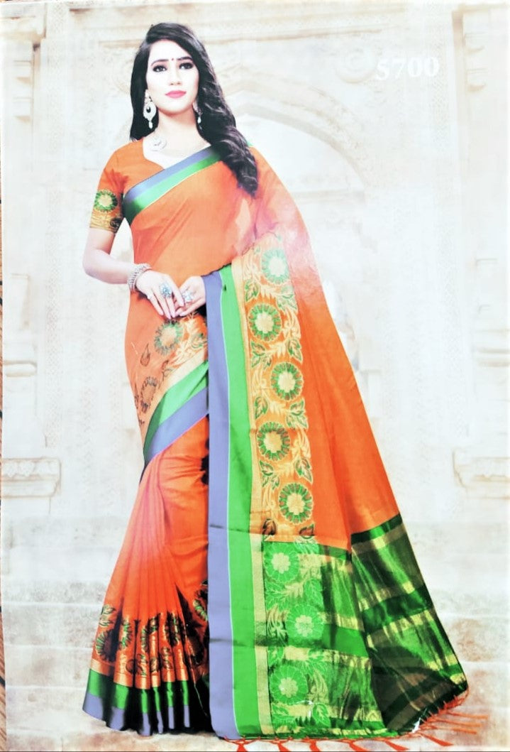 Cotton Silk Saree (Orange with Blue border)