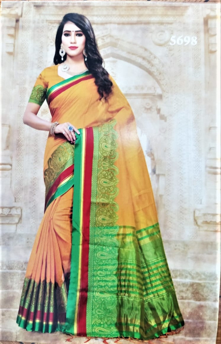 Cotton Silk sarees (Yellow with Green border)