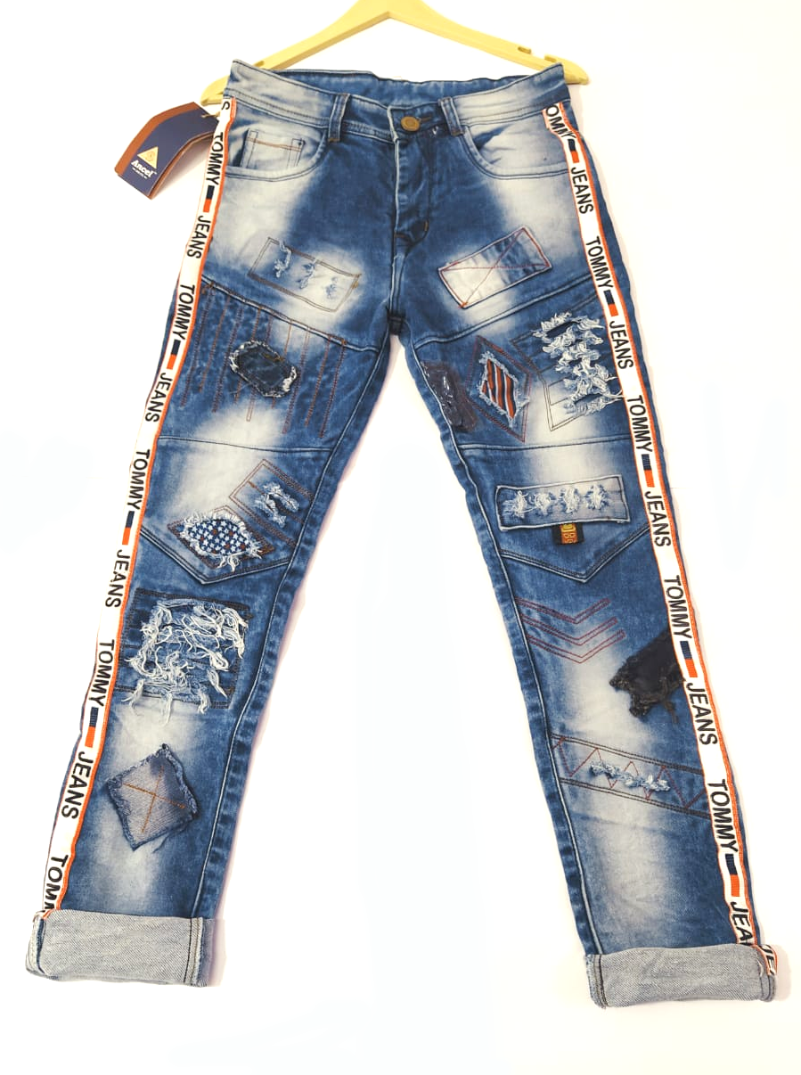 Stylish & Trending Side Stripped Heavy Damage Jeans