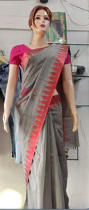 Manipuri Semi Cotton Grey Saree with Red border