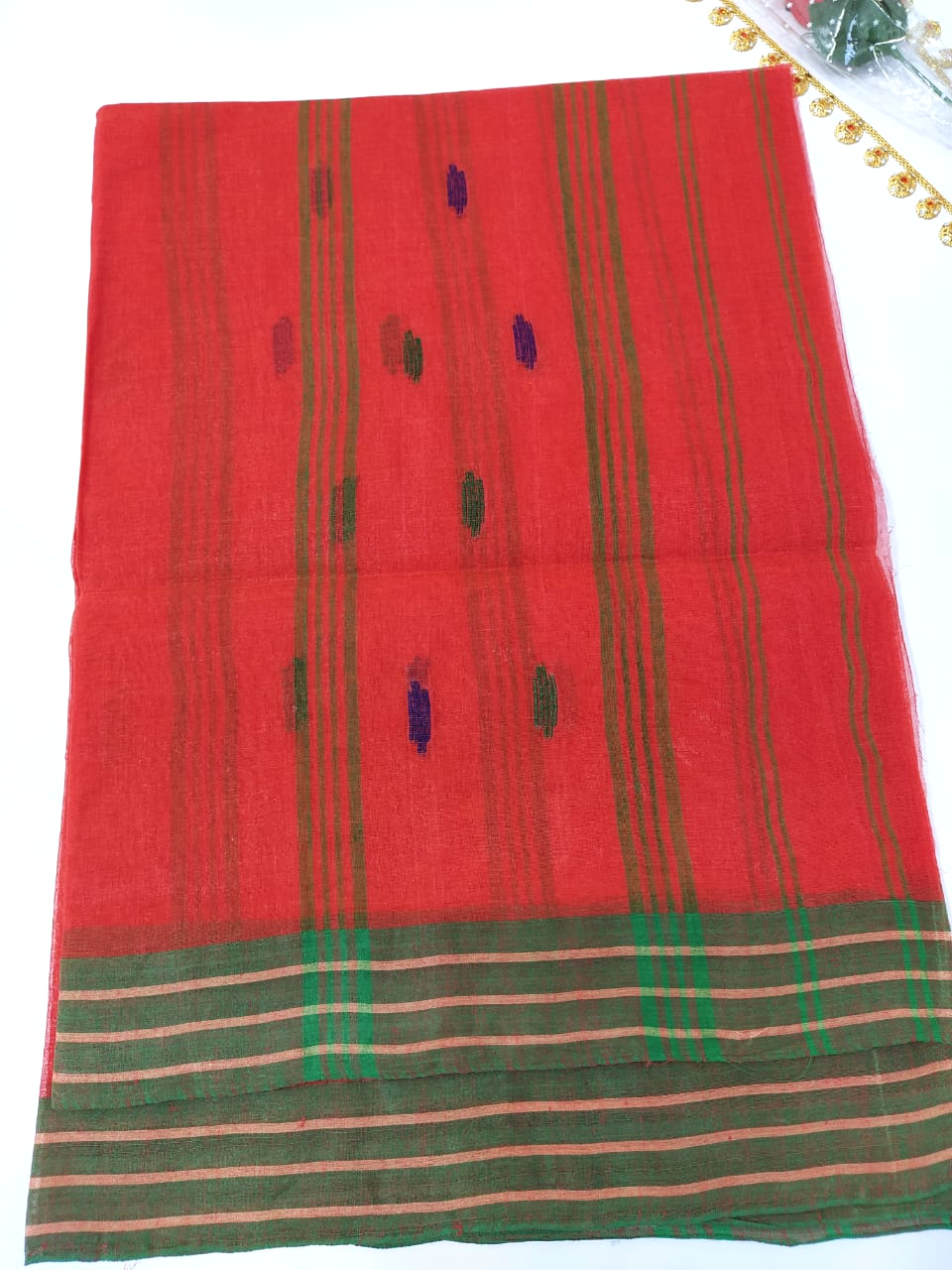 Traditional Manipuri Cotton Chaddar with plain border