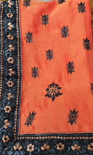 Harrier Silk Saree ( Orange with Black Border)
