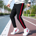 Black with Red stripe Joggers