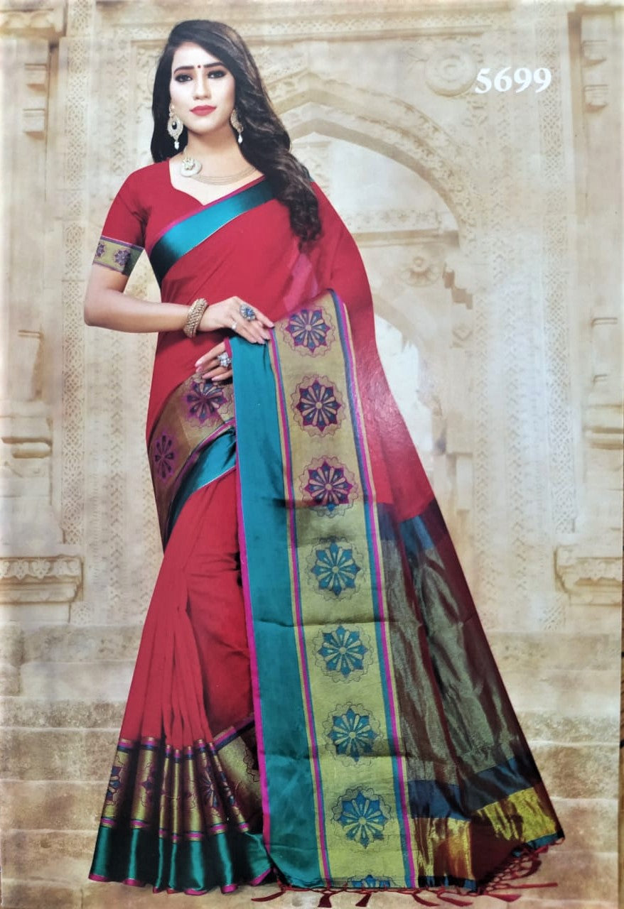 Cotton Silk Sarees (Red with Blue border)