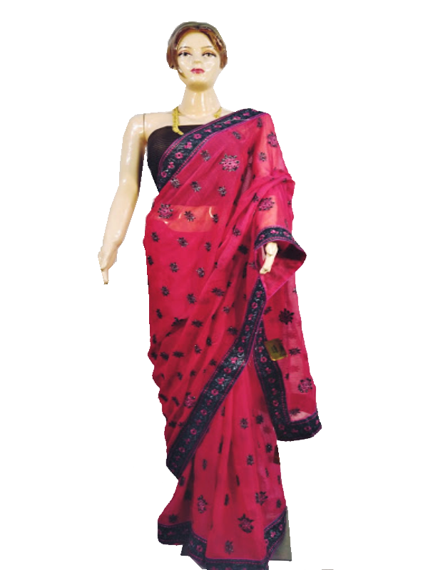 Harrier Silk Saree ( Pink with Black Border)