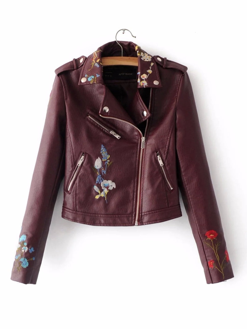 Embroidered Floral Faux Leather Moto Jacket