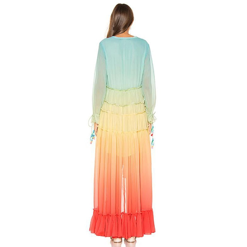 Rainbow Gradient Chiffon Maxi Dress