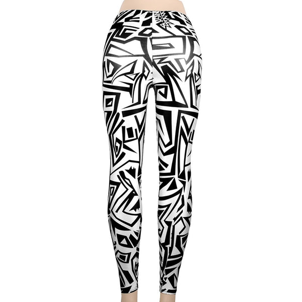 Black + White Patterned High Waist Leggings