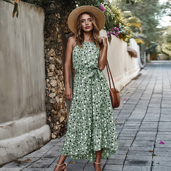 A-Line Sleeveless Maxi Dress With Decorative Bow Sash