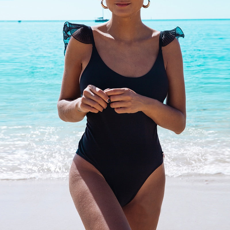 High Cut Ruffled One Piece