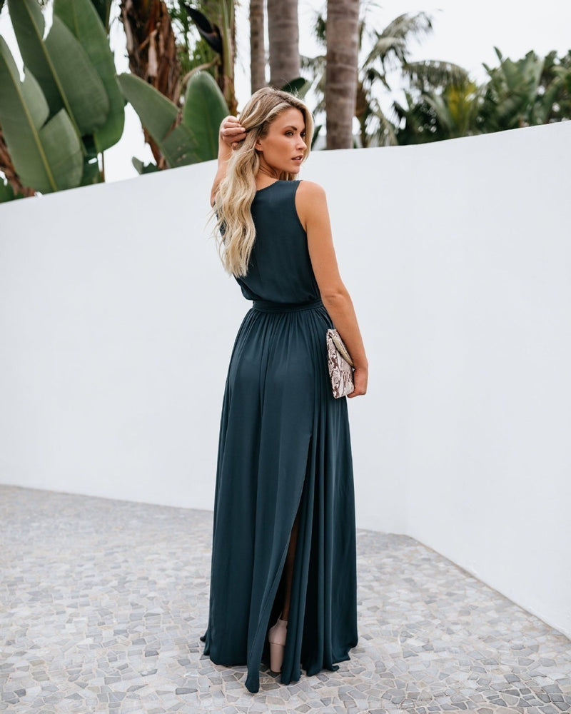 V Neck Backless Chiffon Maxi Dress