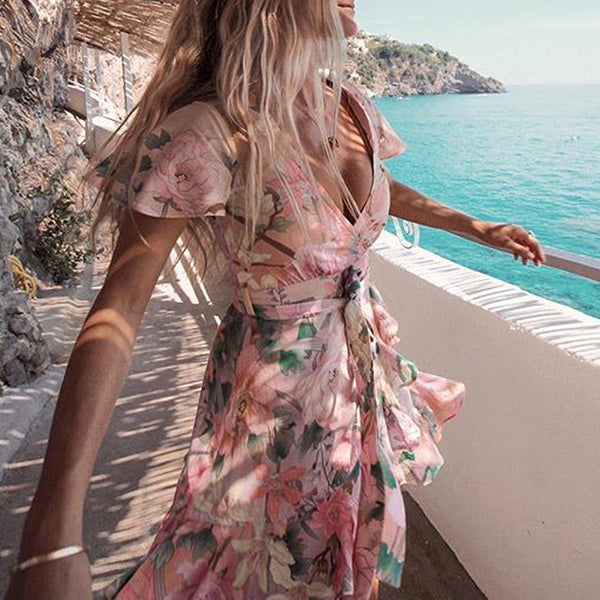 Pink Floral Ruffle Mini Dress