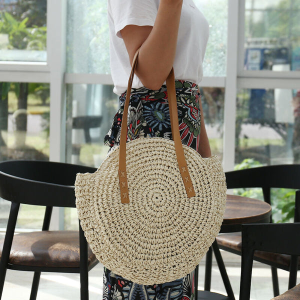 Straw Woven Round Shoulder Handbag
