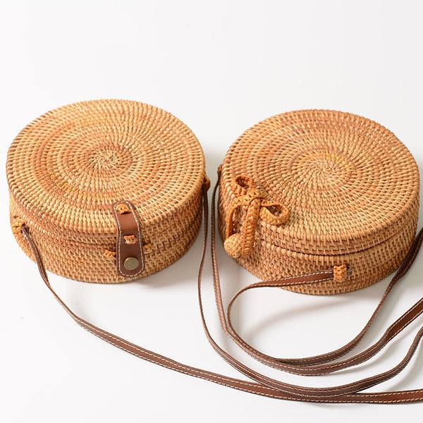 Woven Straw Round Handbag Shoulder Crossbody Strap