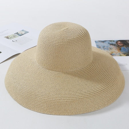 Summer Sun Straw Hat Elegant Wide Brim