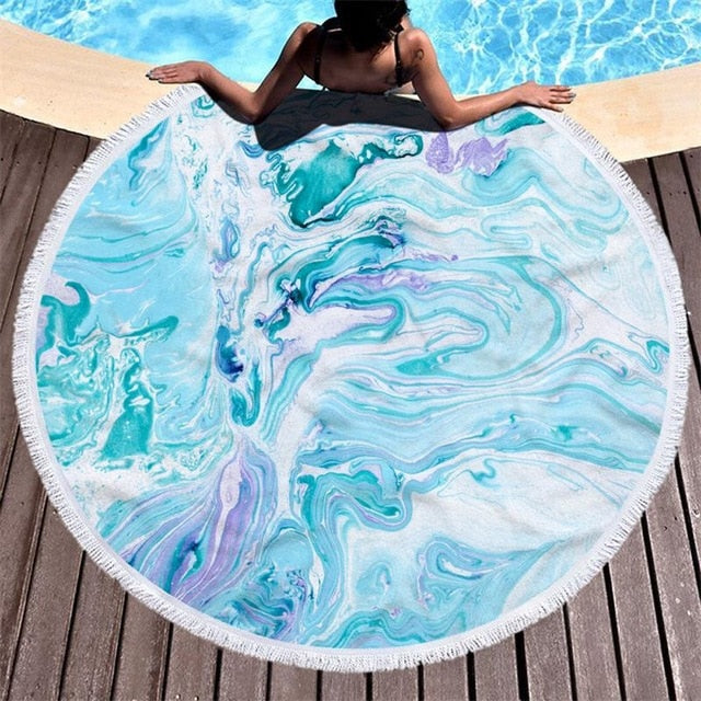 Marble Print Round Beach Towel With Tassels