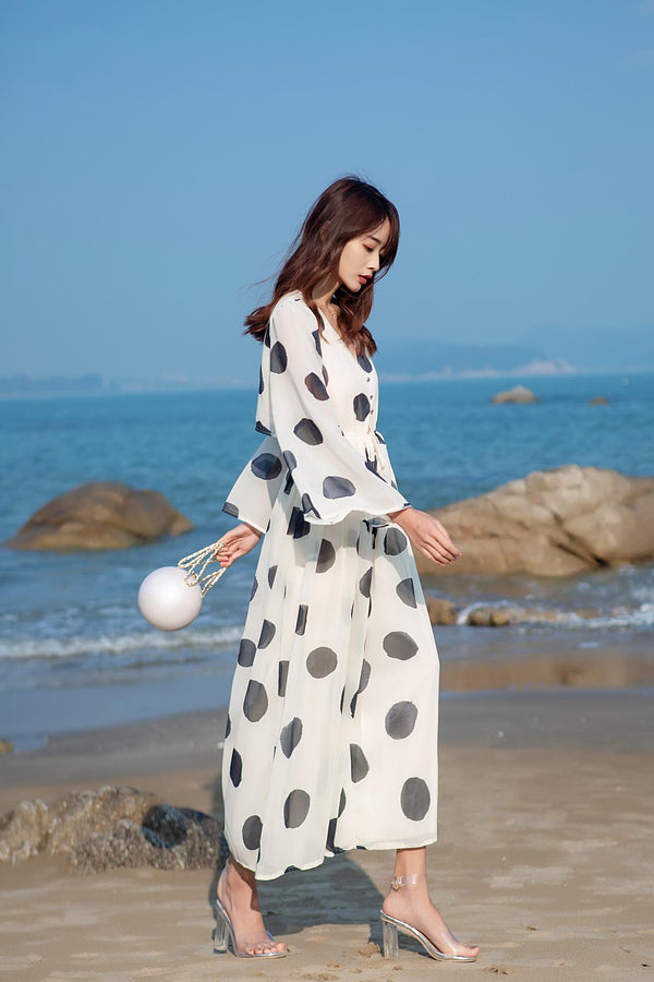 Polka Dot Chiffon Wide Leg Jumpsuit