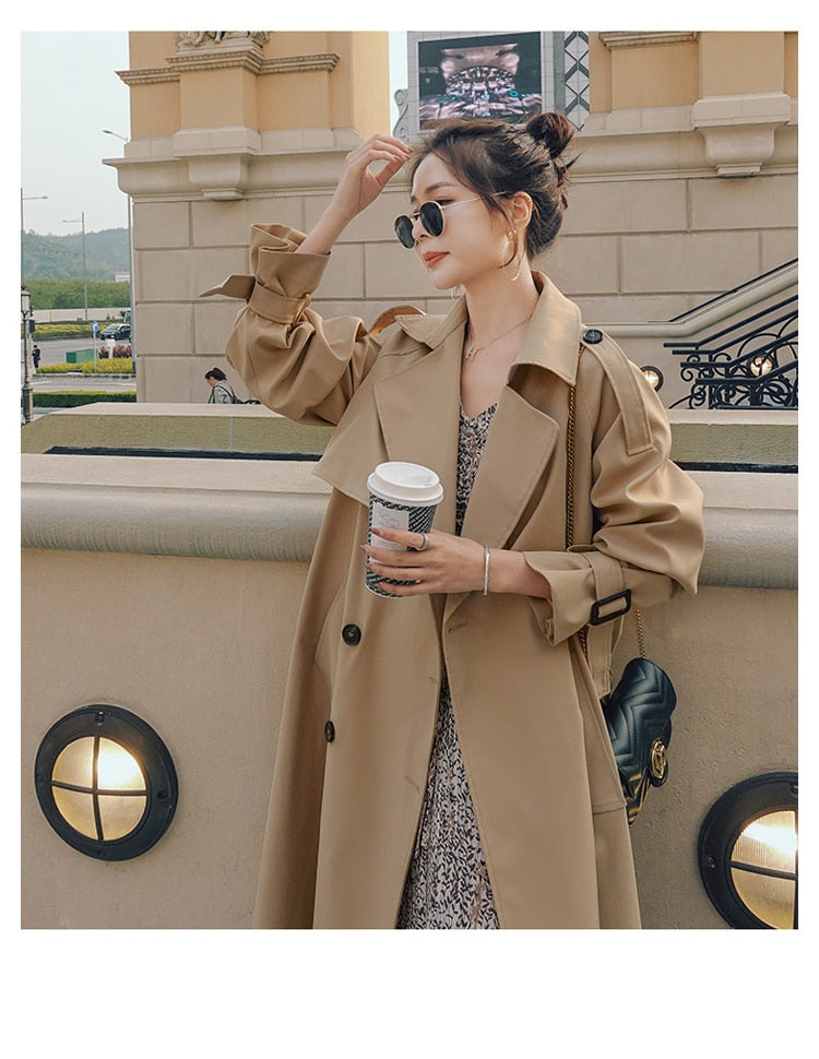 Long Double Breasted Classic Trench Coat