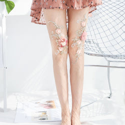 Embroidered Pink Flowers Large Net Fishnet Stockings
