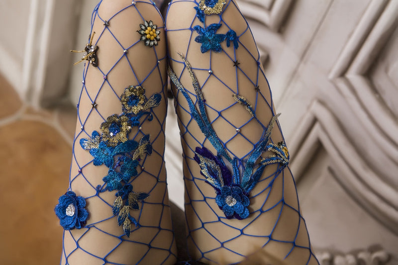 Embroidered Blue Flowers Large Net Fishnet Stockings