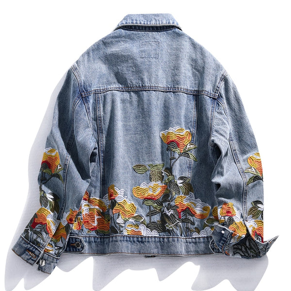 Retro Embroidered Poppy Denim Jacket