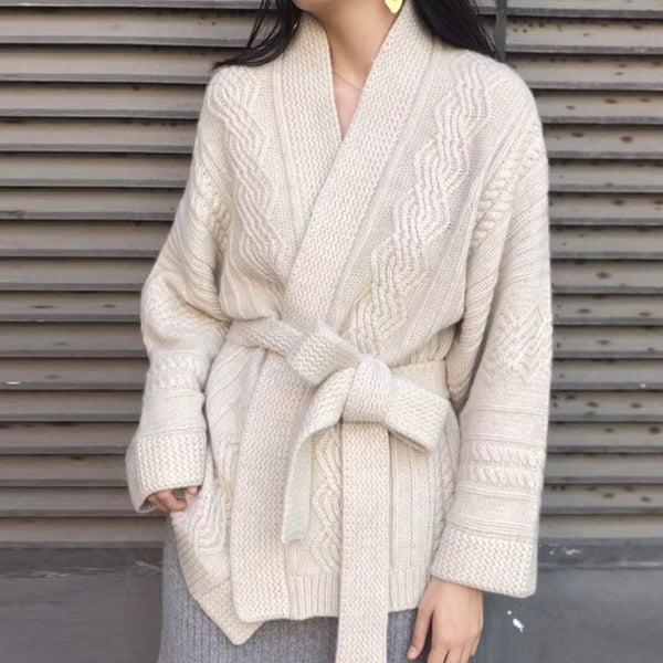 Beige Knitted Oversized Cardigan With Sash Tie