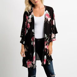 Floral Print Black Chiffon Cover-Up