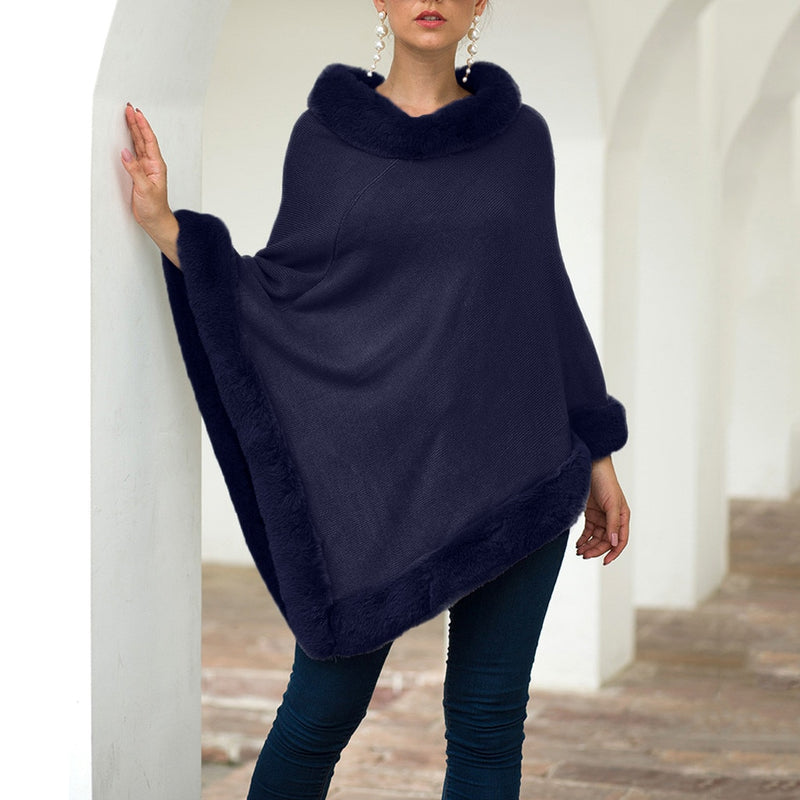 Sofia Poncho With Faux Fur Trim