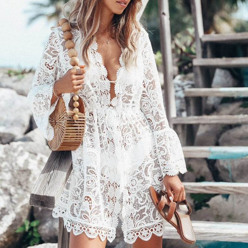 FLORAL LACE CROCHET MINI COVER-UP