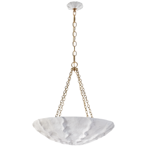 Benit Medium Sculpted Chandelier in Plaster White and Gild