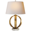 Metal Banded Table Lamp in Gilded Iron with Natural Paper Shade