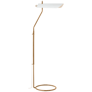 Miles Floor Lamp in Antique-Burnished Brass with Matte White Shade