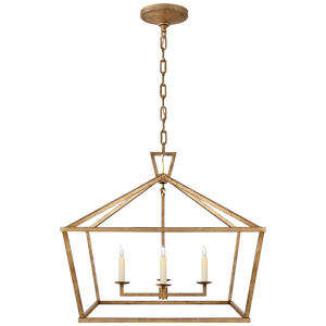 Darlana Medium Wide Lantern in Gilded Iron