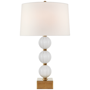 Sazerac Large Table Lamp in White Glass with Linen Shade