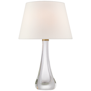 Christa Large Table Lamp in Clear Glass with Linen Shade