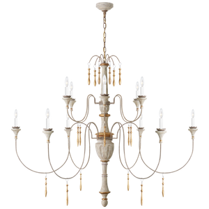 Fortuna Large Chandelier in Vintage White and Gild