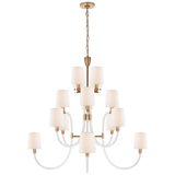 Clarice Large Chandelier in Clear Acrylic and Antique-Burnished Brass with Linen Shades