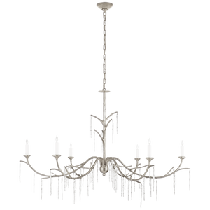 Iberia Large Chandelier in Burnished Silver Leaf and Crystal