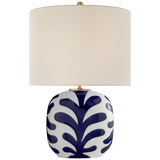 Parkwood Medium Table Lamp in New White and Cobalt with Linen Shade