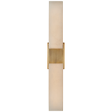 Covet Double Box Sconce in Antique-Burnished Brass with Alabaster