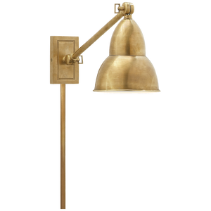 French Library Single Arm Wall Lamp in Hand-Rubbed Antique Brass