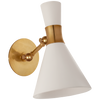 Liam Small Articulating Sconce in Hand-Rubbed Antique Brass with Matte White Shade