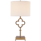 Quatrefoil Table Lamp in Gilded Iron with Linen Shade