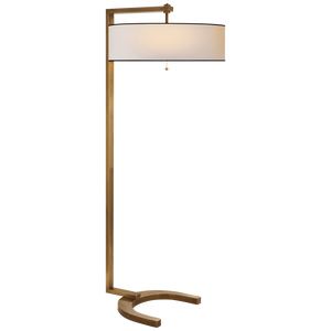 Hudson Floor Lamp in Hand-Rubbed Antique Brass with Natural Paper Shade