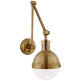 Hicks Library Light in Hand-Rubbed Antique Brass with White Glass