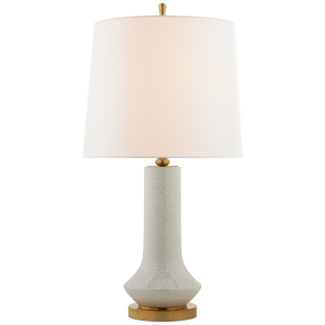 Luisa Large Table Lamp in White Crackle with Linen Shade