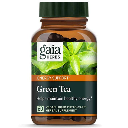 Gaia Herbs Green Tea, Vegan Liquid Capsules, 60 Count