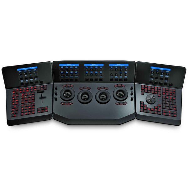 Blackmagic Design DaVinci Resolve Advanced Panel with three ergonomically connected control surfaces and a pull out keyboard.