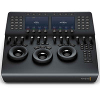 "Blackmagic Design DaVinci Resolve Mini Panel with 12 control knobs for essential tools and an upper deck with two 5"" screens, 8 soft knobs and 8 soft buttons."