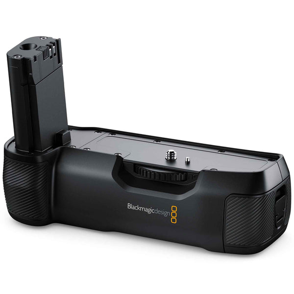 Blackmagic Pocket Battery Grip with dual Sony L-Series battery compartment and carbon fibre construction.
